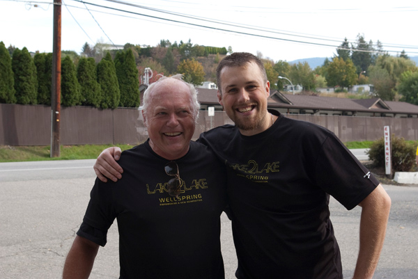 Ed Lifton with Wellspring Executive Director Richard Taylor just after finishing the inaugural Lake2Lake Ride for Rwanda
