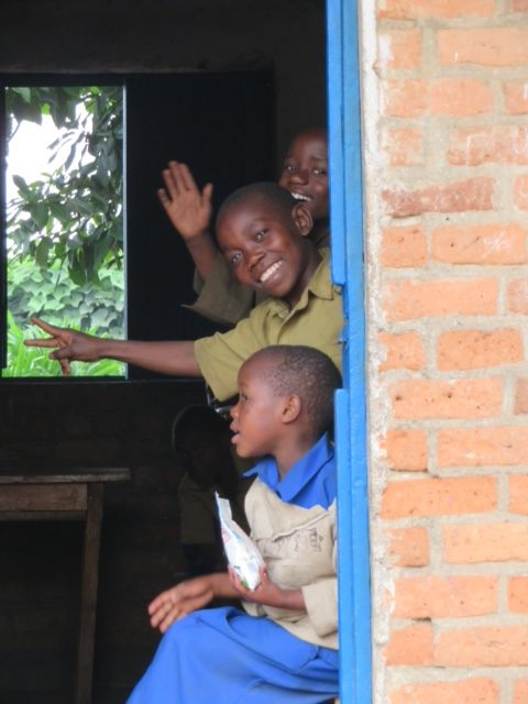 Rwandan students hamming it up for the camera