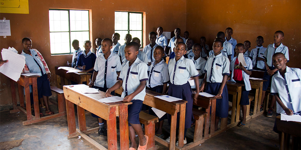 Students in class at Kacyiru I Primary.